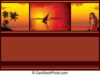 Banner. - Summer tropical banner. Sunset. Vector...