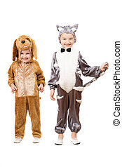 Funny boys dressed as a cat and dog Isolated