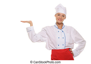 woman chef with an outstretched hand - woman in chefs...