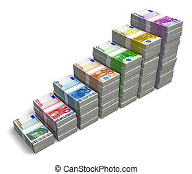 Bar chart from Euro banknotes - Bar chart from different...