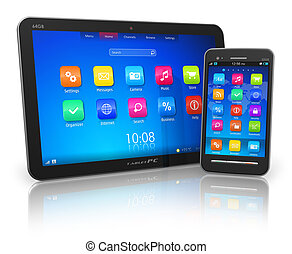 Tablet PC and touchscreen smartphone - Black glossy tablet...