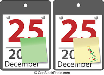 Christmas sticky note calendar year date