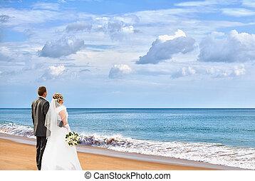sposa, sposo, spiaggia
