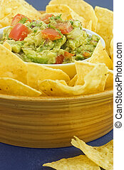 Guacamole with Tortilla chips - Fresh chunky Guacamole with...