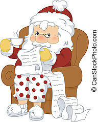 Santa Reviewing His List - Illustration of Santa Claus...