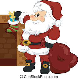 Christmas Stocking - Illustration of Santa Claus Putting a...