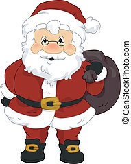 Santa Sack - Illustration of Santa Claus Carrying a Sack