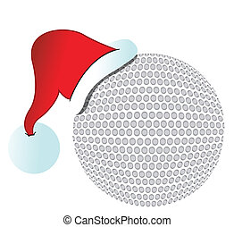 santa hat golf ball illustration design on white