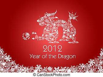 płatki śniegu, Chińczyk, próbka, smok, rok, nowy, czerwony