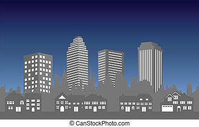 City skyline with houses - City skyline and suburban houses