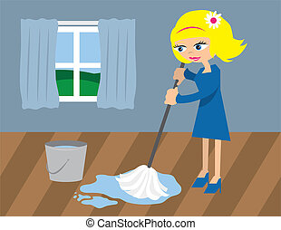 Woman Mopping the Floor - Woman cleaning floor with mop