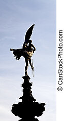 Eros at Piccadilly Circus - The winged nude statue of an...