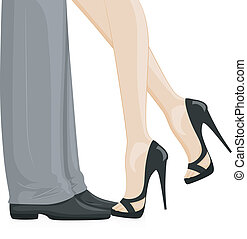Couple Feet - Illustration of a Couple at a Formal Event...