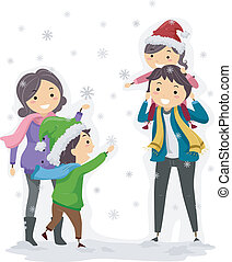 Winter Family - Illustration of a Family Enjoying a Winter...