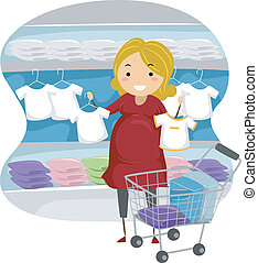 Baby Clothes - Illustration of a Mother-to-be Shopping for...