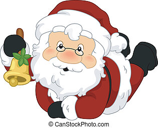 Santa Bell - Illustration of Santa Claus Holding a Bell