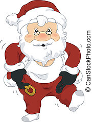 Santa Costume - Illustration of Santa Claus Putting on His...