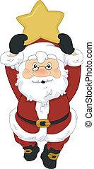 Santa Star - Illustration of Santa Claus Holding a Christmas...
