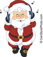 Santa Claus Headphones - Illustration of Santa Claus...