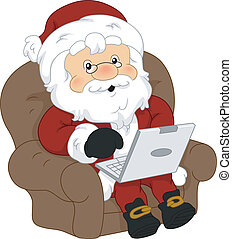 Santa Claus Laptop - Illustration of Santa Claus Using a...