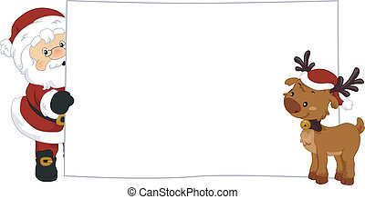 Santa Claus and Reindeer Banner - Illustration of Santa...