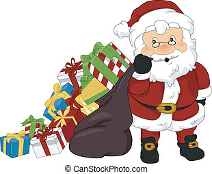 Santa Claus Christmas Presents - Illustration of Santa Claus...