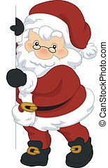 Santa Board - Illustration of Santa Claus Holding a Board