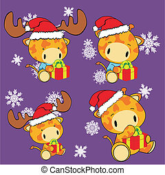 giraffe baby cartoon Christmas set