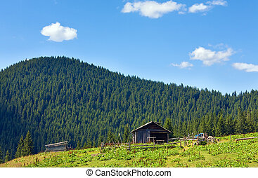 Summer mountain farm shed - Summer mountain plateau...
