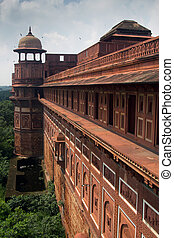 Agra forte defence wall, Agra, India - Agra Fort, is a...