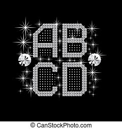 digital diamond alphabet new - vector set of letters and...