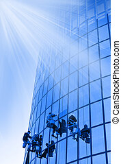 Workers washing windows - 4 Workers washing windows