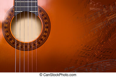 background of acoustic guitar - musical image of the...