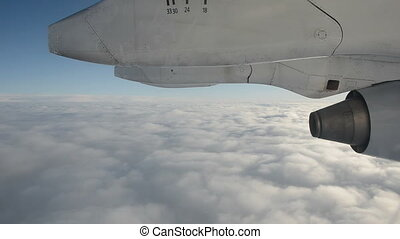 fly above sky clouds and aeroplane