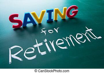 einsparung, Pensionierung, begriff