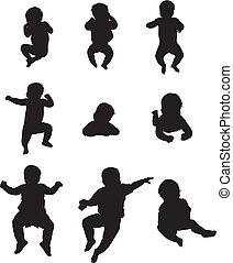 childrens silhouettes - The silhouettes of the child 0-1...