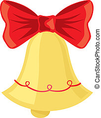Christmas bell - Gold christmas bell with red bow