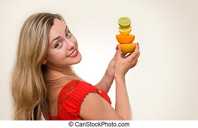 attractive girl with citrus