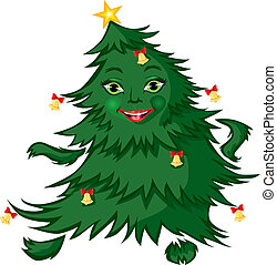 ?ree dance - Fir-tree, decorated with bells, dancing and...