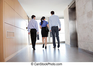 People Walking Along Office Corridor