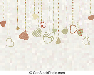 Vintage valentine card with cute hearts. EPS 8