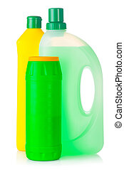 House cleaning supplies. Plastic bottles with detergent...
