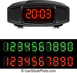 Radio alarm clock. Illustration isolated on white...
