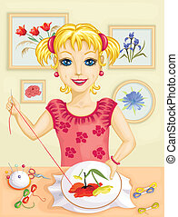 Girl embroidering - Cute girl embroidering red and yellow...