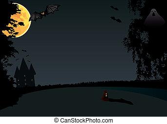 Hallowen - Bat night under the moon. Vector illusration