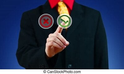 Businessman pushing button with Yes - Businessman pushing...