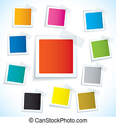 Paper tape square tag - Collection of paper notes with copy...