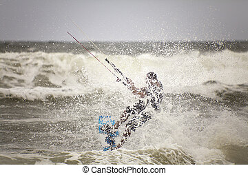 Kite Surfer - Kite surfer in action close up