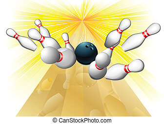 Bowling ball hitting pins - Illustration of a bowling ball...