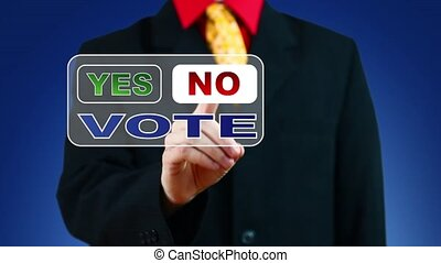 Businessman voting No - Businessman pressing No button for...